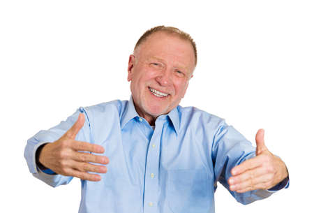 to woo: Closeup portrait, senior mature man motioning with arms to come and give him a bear hug, isolated white background. Positive human emotion facial expression feeling, signs symbols, body language