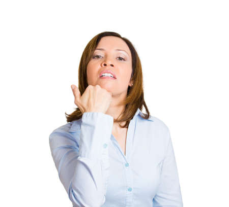 Closeup portrait, annoyed, pissed off, woman making obscene italian hand gesture, i dont care, give a damn, isolated white background. Negative human emotion facial expression feelings, body language photo