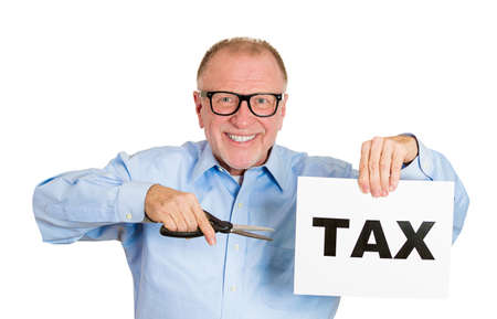 Closeup portrait, excited, happy, energetic enthusiastic nerd senior, mature business man, funny guy, worker, dedicated employee cutting taxes with scissors isolated white background. Government. IRS. Stock Photo - 27627909