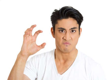 Closeup portrait, irritated, stressed, unhappy, angry mad young man, threatening someone with claws, nails, isolated white background. Negative human emotions, facial expressions, feelings, reaction photo