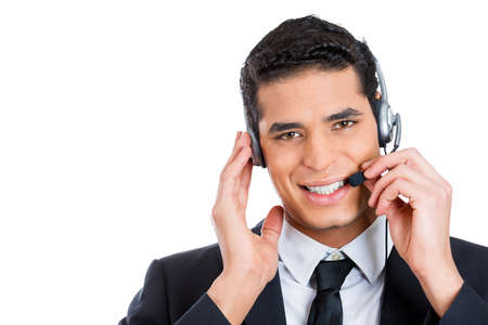 call: Closeup portrait, male, handsome customer service representative, call centre worker, operator, support staff speaking with head set, isolated white background. Positive human communication