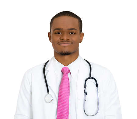 stethoscope isolated on white background: Closeup portrait, happy, confident male healthcare professional, dentist, pharmacist, scientist, researcher, doctor, nurse, with stethoscope, isolated white background. Patient care