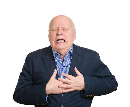 rupture: Closeup portrait elderly male executive, corporate employee having sudden chest, heart pain, trying catch air, suffocating, isolated white background. Myocardial infarction, aortic aneurysm rupture