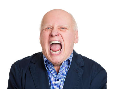 Closeup headshot portrait, mad, upset, senior mature man, funny looking business man, open mouth yelling, isolated white background. Negative human emotion facial expression, reaction photo