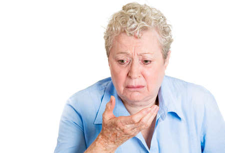 queasy: Closeup portrait, mature unhappy, annoyed, sick woman about to chuck, throw up, puke retch barf, hurl isolated white background. Negative human emotions, feelings, facial expressions. Excessive food
