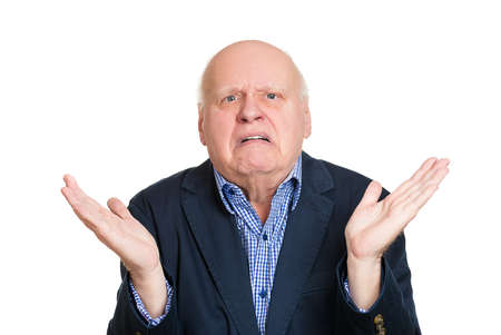 Closeup portrait, dumb clueless senior mature man, arms out asking why whats the problem who cares so what, I dont know. Isolated white background. Negative human emotion facial expression feelings Stock Photo - 27844188