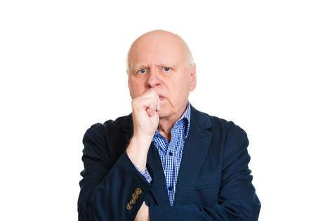 perfectionist: Closeup portrait, senior mature man with finger in mouth, sucking thumb, biting fingernail, deep in thought, isolated white background. Negative human emotion, facial expression, feeling