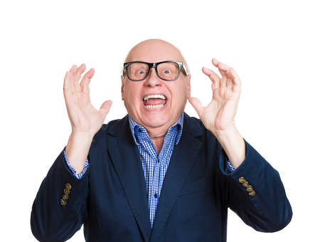 Closeup portrait, happy, senior mature nerd man looking shocked surprised in full disbelief hands in air, open mouth eyes, isolated white background. Positive human emotion facial expression feeling photo