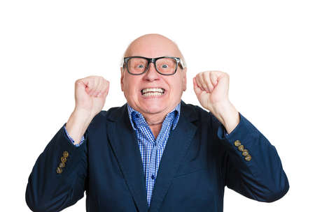 awe: Closeup portrait, happy, senior mature nerd man looking shocked surprised in full disbelief fists in air, open mouth eyes, isolated white background. Positive human emotion facial expression feeling