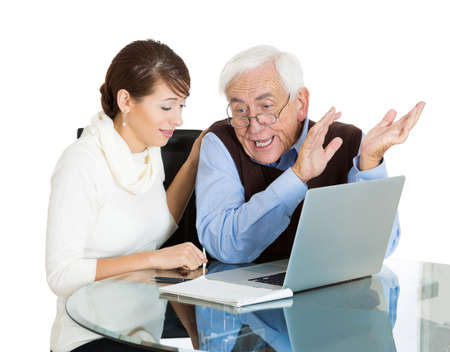 Closeup portrait young, technology savvy, frustrated woman, showing confused, senior, older, elderly man with eyeglasses how use laptop isolated white background. Generation gap differences concept