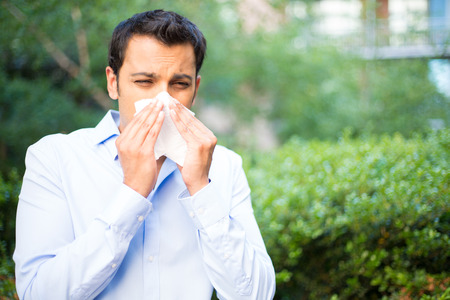 miserable: Closeup portrait of young man in blue shirt with allergy or cold, blowing his nose with a tissue, looking miserable unwell very sick, isolated outside green trees background. Flu season, vaccination.