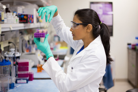 Closeup portrait, young scientist in labcoat doing experiments in lab, academic sector.