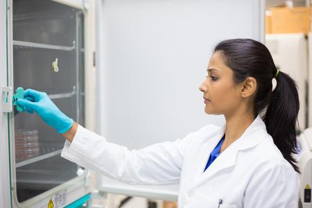 Close-up portret, jonge lab onderzoeker die weefselkweek gerechten in incubator. Geïsoleerde lab achtergrond