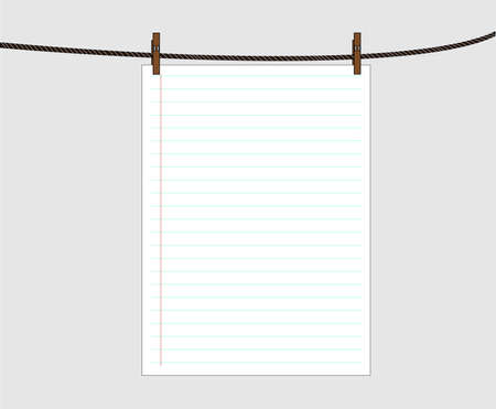 Blank worksheet book attached to a clothesline with pin - vector Illustration