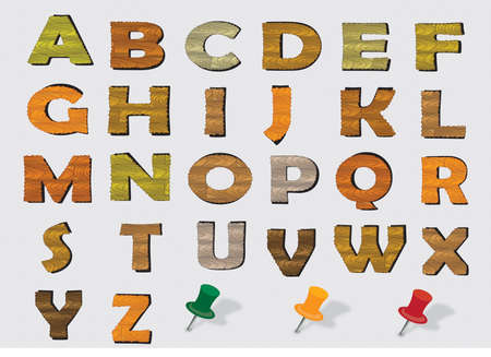 prinitng block: wood vector English alphabet