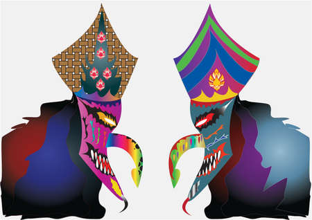 Carnival mask decorated with designs on a white background Illustration
