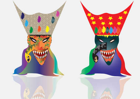 decoration decorative disguise: Carnival mask decorated with designs on a white background Illustration