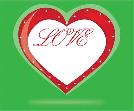 green Valentines Day background with heart. Vector illustration.