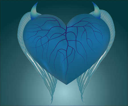 Devil heart. Fateful love concept. blue Illustration