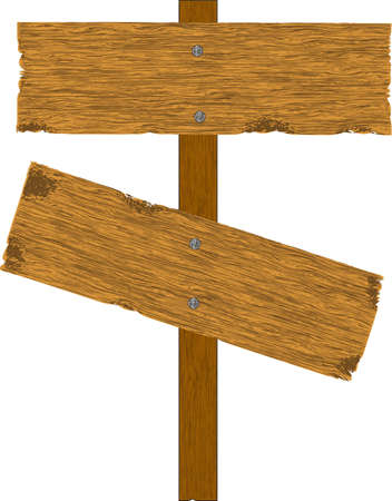 wooden post: old wooden billboard. isolated on white.