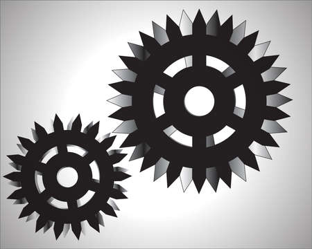 machined: illustration of gear wheels system over white background