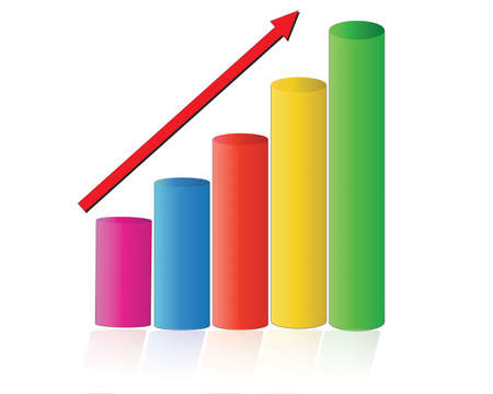 illustration of bar graph with rising arrow on isolated background