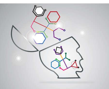 mediateur: reli�e par une cellule de couleur. Vector Graphics Illustration