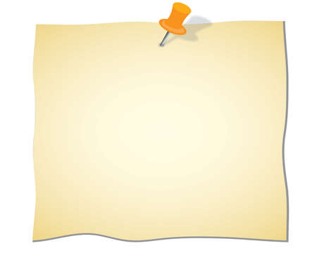 Note paper and red pin on white background, illustration. Vector
