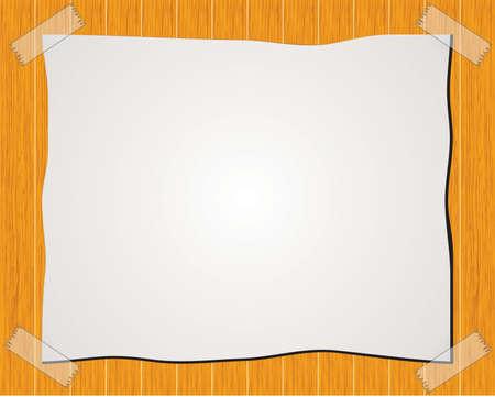 sticky tape: Nota de papel con cinta adhesiva aislado en el fondo de madera Vectores