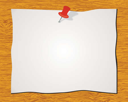 pinning: Blank white sticky note with red push pin isolated on wood background Illustration