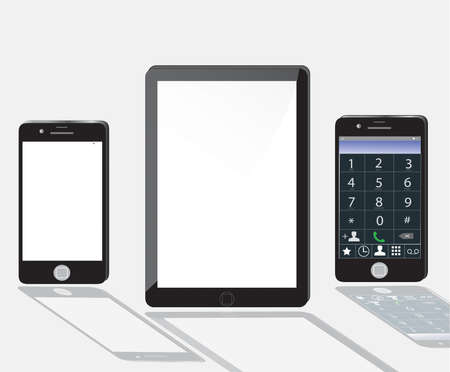 Vector tablet computer and mobile phone Vector