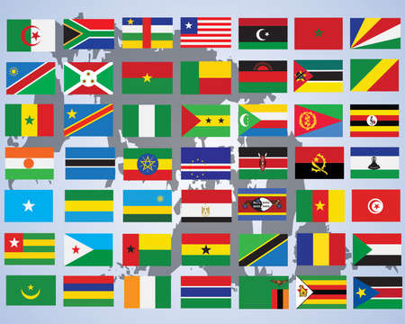 Flags of Africa- complete set of flags in original colors  Vector