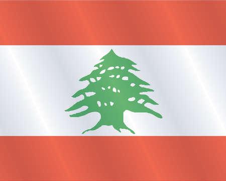 Waving Fabric Flag of Lebanon Vector