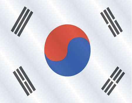 three dimensional: South Korea flag, three dimensional render, satin texture