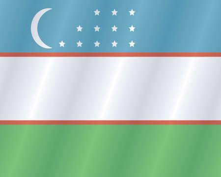 uzbek: Uzbek places flag Illustration
