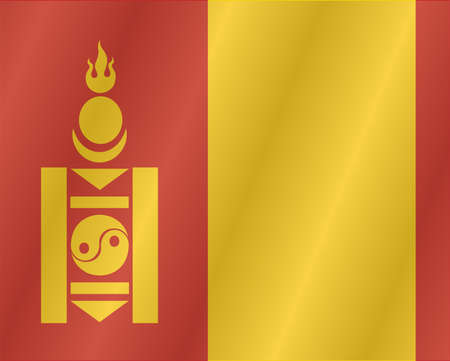 mongolia: Waving flag of Mongolia