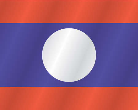 Laos flag with title on the white background Illustration
