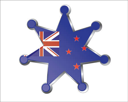 medal with the national flag of New Zealand Vector