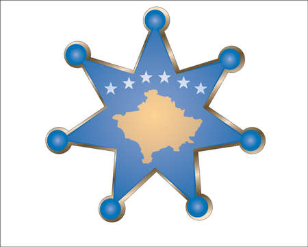 national hero: medal with the national flag of Kosovo