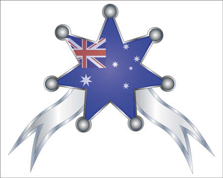 medal with the national flag of Australia Vector