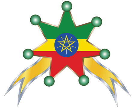 medal with the national flag of Ethiopia Illustration
