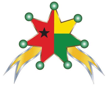 guinea bissau: medal with the national flag of Bissau
