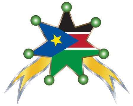 south sudan: medal with the national flag of  South Sudan.