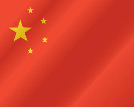 three dimensional: China flag, three dimensional render, satin texture