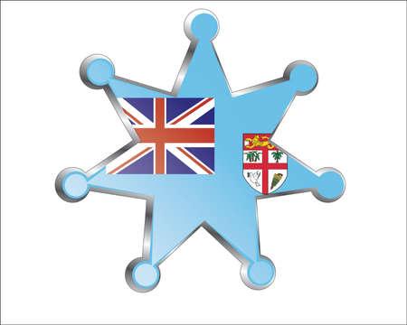 fiji: medaille met de nationale vlag van Fiji