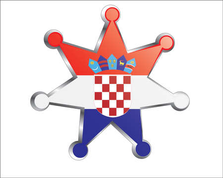 medal with the national flag of Croatia Vector