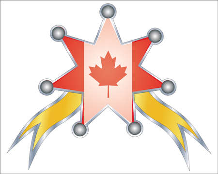 medal with the national flag of canada Vector