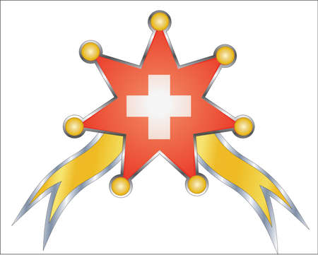 swiss flag: medal with the national flag of Swiss