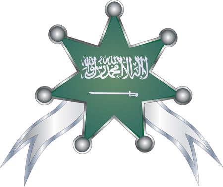 medal with the national flag of Saudi Arabia Illustration