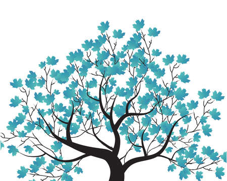 decorative tree and blue leaves